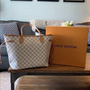 Authentic Louis Vuitton Neverfull Mm Damier Azur